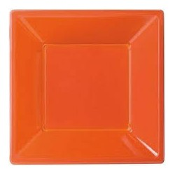 8 assiettes plastique carré orange 23x23cm