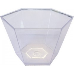 16 coupelles plastique hexagonales cristal 9cl
